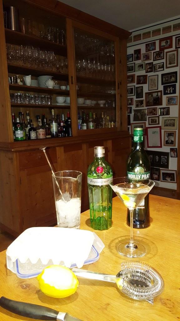 Tanqueray #10, Noilly Prat, ungespritzte Zitrone, -32° kaltes Bareis, sonst nix