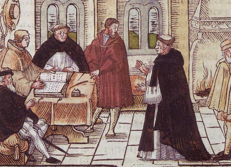 Luther-vor-Cajetan 1518 in der Annakirche in Augsburg