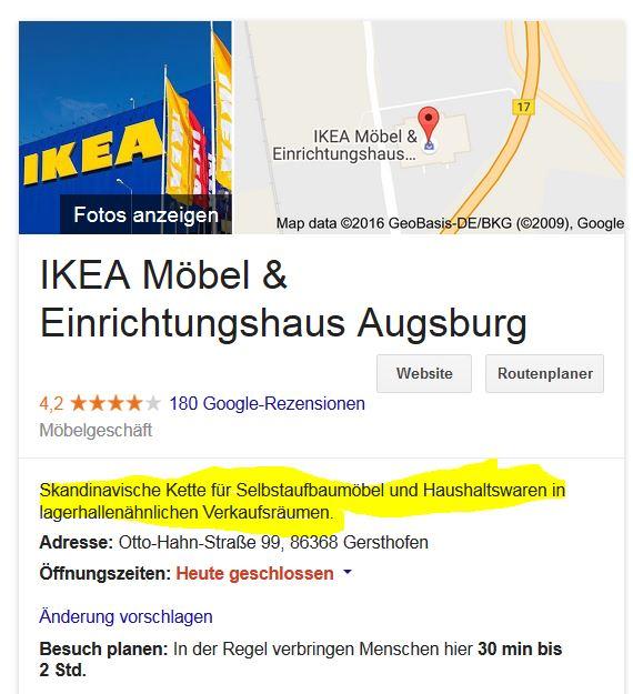 Man kann ja über Google durchaus unterschiedlicher Meinung sein – aber diese Umschreibung von Ikea ist genial (und zutreffend).