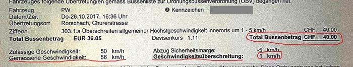 Schweiz, Strafzettel, Geschwindigkeitsübertretung