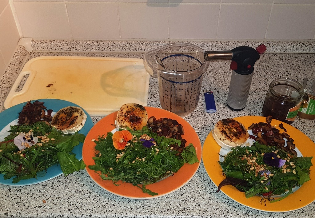 Wildkräutersalat mit gratiniertem Ziegenkäse